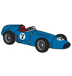 Old blue racing car vector