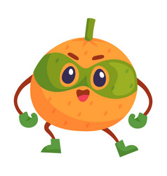 Orange fruit comic superhero mascot isolated on vector
