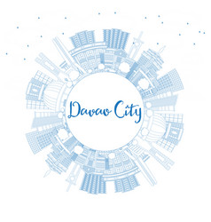 outline davao city philippines skyline with blue vector image