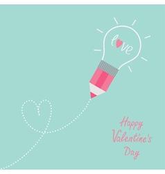 Pencil with light bulb word love dash line heart vector