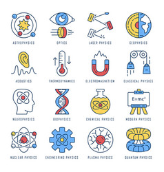 Physics branches color icons set physical vector