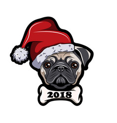 pug in santa hat dog new year 2018 vector image