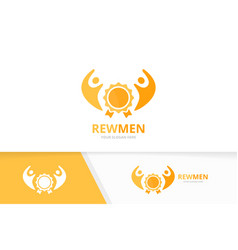 Reward and people logo combination trophy vector