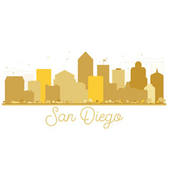 San diego california usa city skyline golden vector