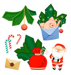 santa claus and glass ball pig develop bag fir vector image
