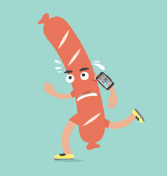 sausage on the run with smartphone health concept vector image