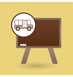 School bus icon blackboard graphic vector