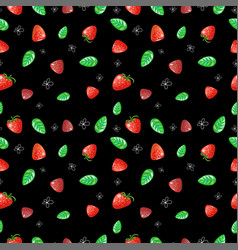 Seamless pattern with strawberries mint leaves vector