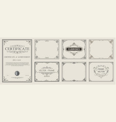 set decorative vintage frames and certificate b vector image