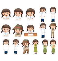 Set girl in different costumes on white vector