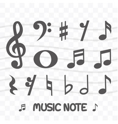 set music note icon simple flat style vector image