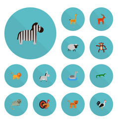 set of alive icons flat style symbols with deer vector image