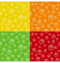 Set of seamless patterns with gift boxes vector image