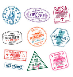 Set of visa stamps for passports international vector