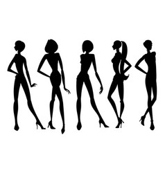 Set of young girls silhouettes posing with hand on vector
