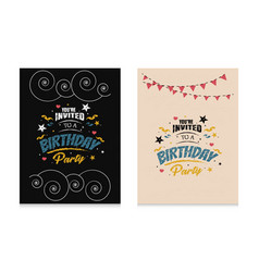 sets invitation birthday party simple vector image