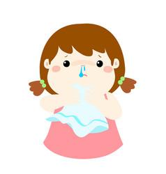 Sick girl runny nose cartoon vector