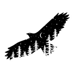 silhouette eagle with coniferous trees on the vector image