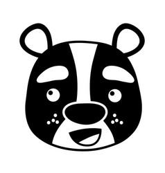 silhouette happy bear head wild animal vector image