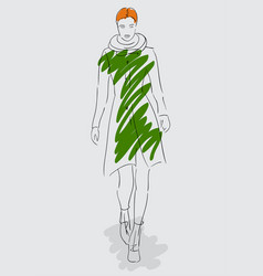 sketch model fashion model autumn-winter vector image