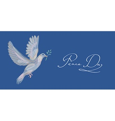Sketch style peace dove symbol blue background vector image