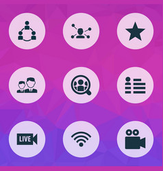 social icons set with community video vector image