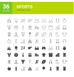 Sports line web glyph icons vector