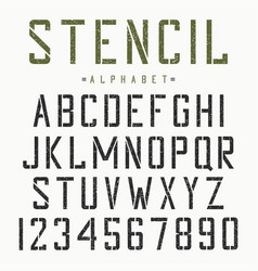stencil font alphabet and numbers vector image