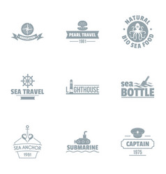Submarine travel logo set simple style vector