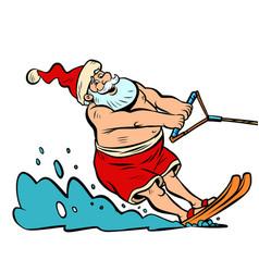Summer vacation water skiing santa claus vector