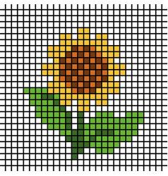Sunflower mosaic tile pattern pixel vector