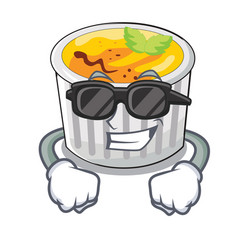 Super cool creme brule in white cartoon bowl vector