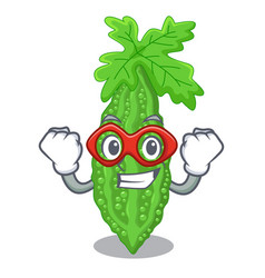 Super hero bitter melon gourd on shape cartoon vector