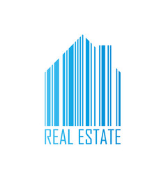 symbol of house with barcode design and real vector image