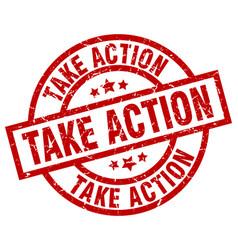 Take action round red grunge stamp vector