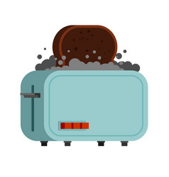 Toaster and burnt bread spoiled breakfast flat vector