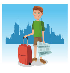 tourist in the city vector image