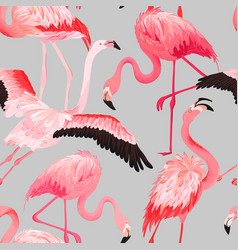 Tropical flamingo seamless summer pattern vector