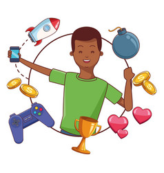videogames and millennials cartoons vector image