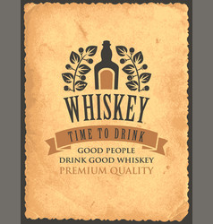vintage banner on theme good whiskey vector image