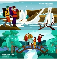 Waterfall Landscapes Compositions vector