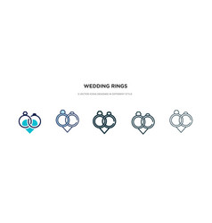 Wedding rings icon in different style two vector