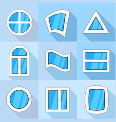 Windows icons set flat style vector