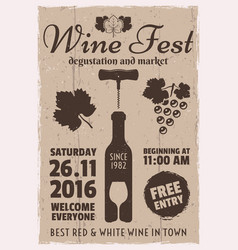 Wine event vintage promotional poster vector