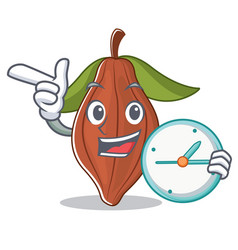 With clock cacao bean character cartoon vector
