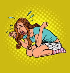 woman crying hysterical panic stress vector image