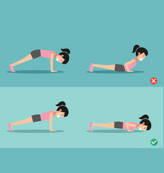 Wrong and right push-up posture vector