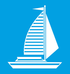 Yacht with sails icon white vector