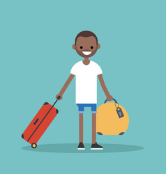 Young black man travelling with his luggage flat vector