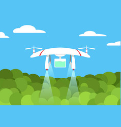 agriculture drone flight on forest design vector image vector image